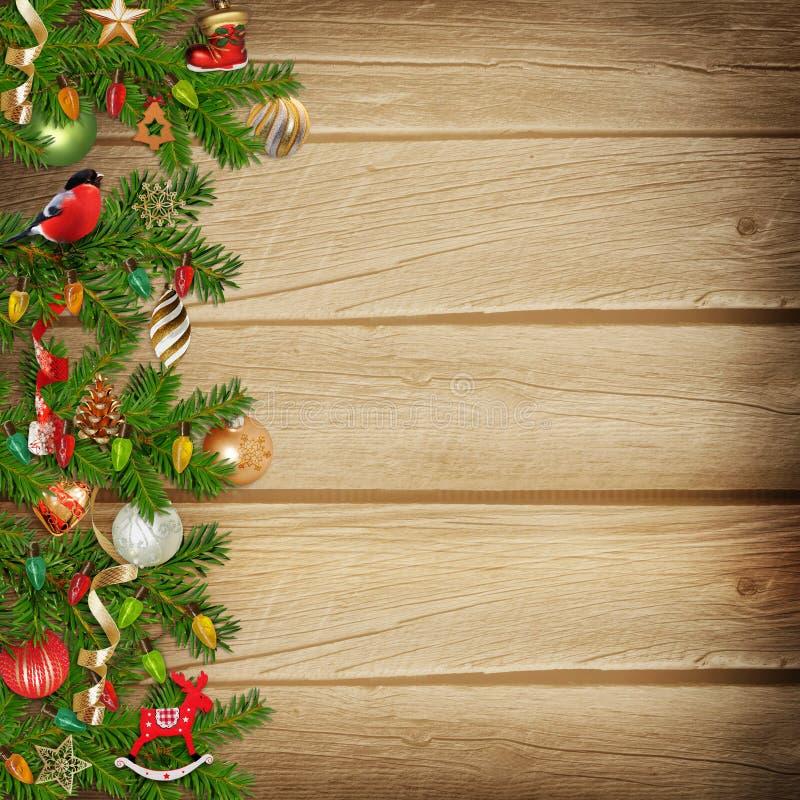 Weihnachtswunderbare Girlande auf einem hölzernen Hintergrund vektor abbildung
