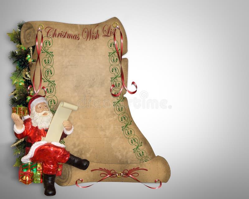 WeihnachtsWunschzettel auf altem Pergament stock abbildung