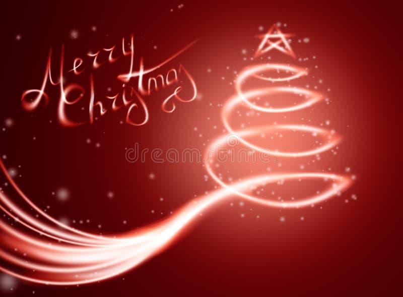 Weihnachtszauberkarte mit Baum im Licht und in den Scheinen vektor abbildung