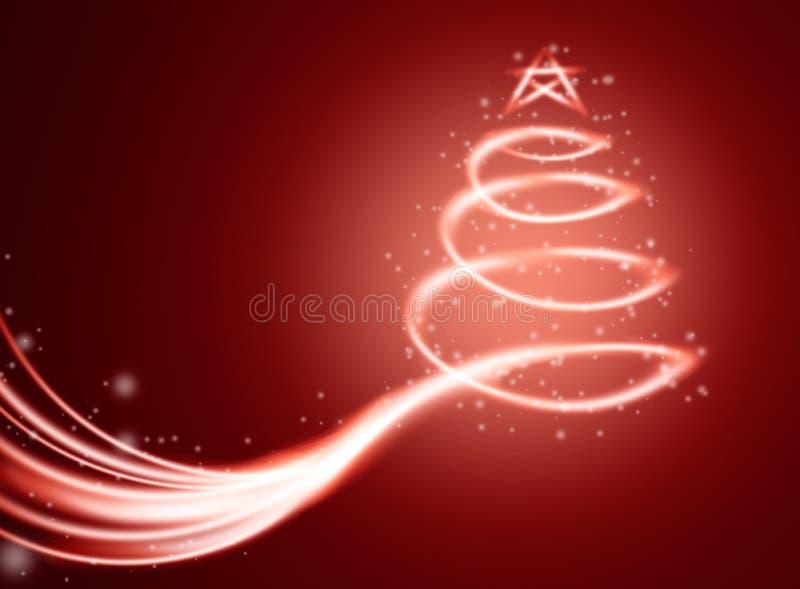 Weihnachtszauberkarte mit Baum im Licht und in den Scheinen lizenzfreie abbildung
