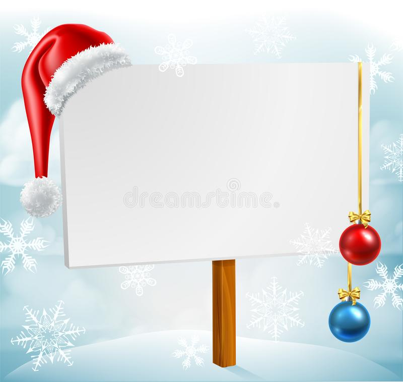 Weihnachtszeichen-Santa Hat Baubles Winter Snow-Szene stock abbildung