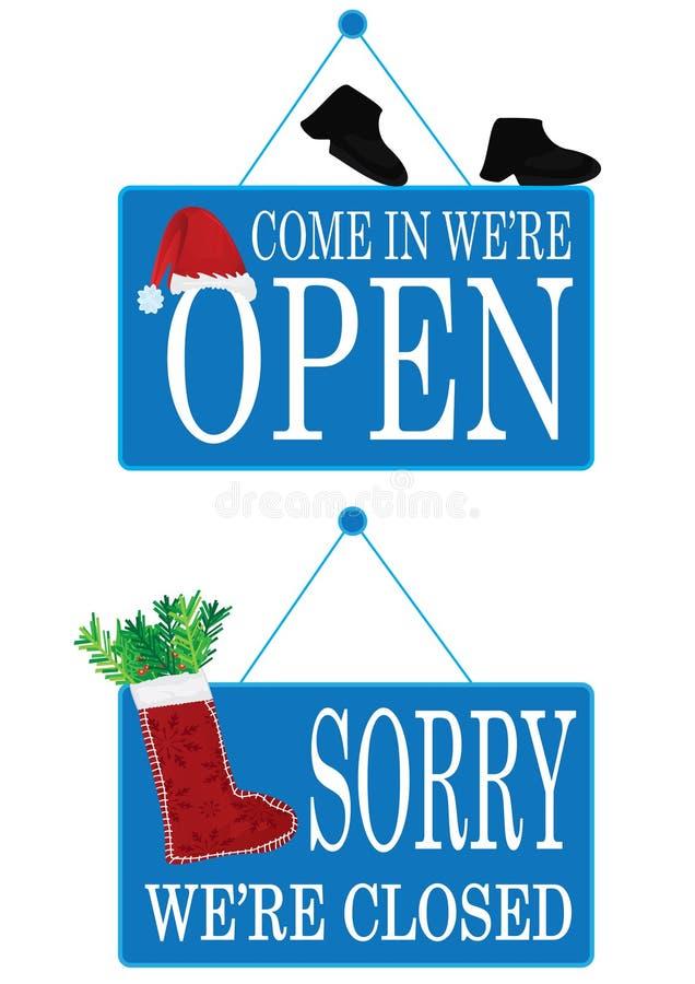 Weihnachtszeitraum geöffnet und geschlossenes Zeichen stock abbildung