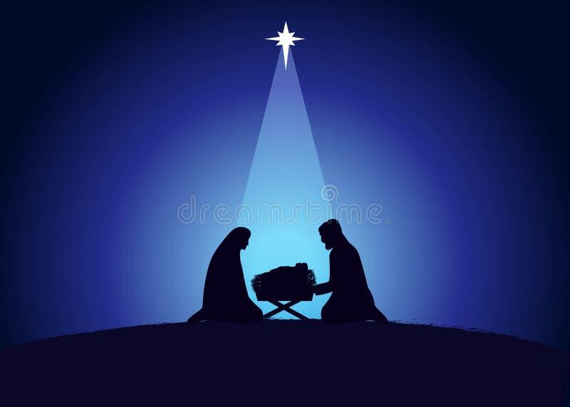 Weihnachtszene Jesus in der Manier mit Maria und Joseph in Silhouette stock abbildung