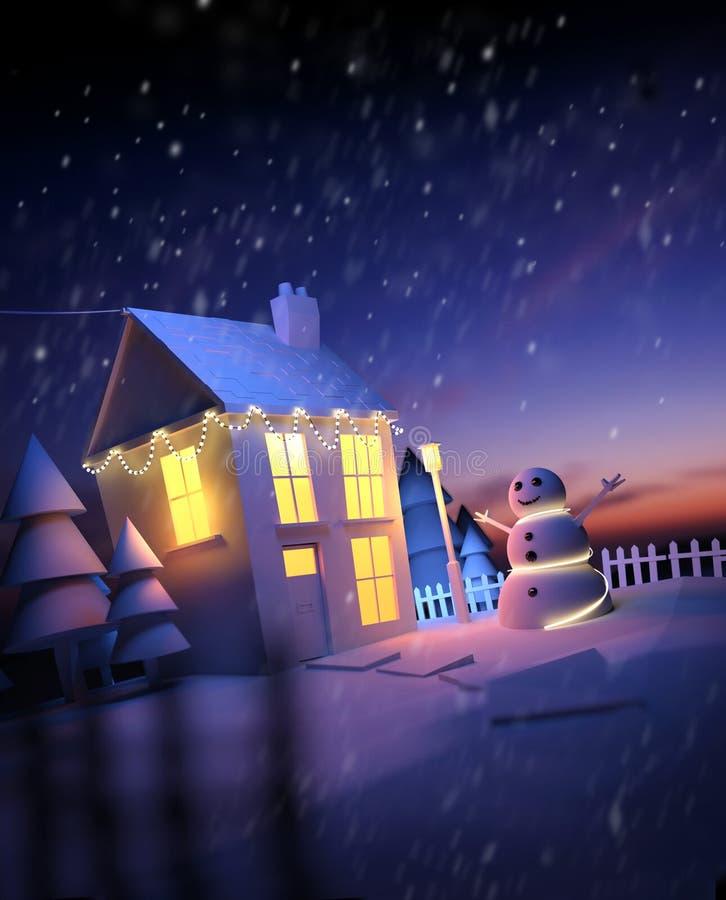 Weihnachtszu hause Winter-Landschaft lizenzfreie abbildung