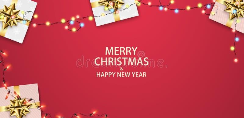 Download Weihnachtszusammensetzung Mit Geschenken Und Girlanden Festlicher Roter Hintergrund, Draufsicht Vektor Abbildung - Illustration von kiefer, geschenk: 106803686