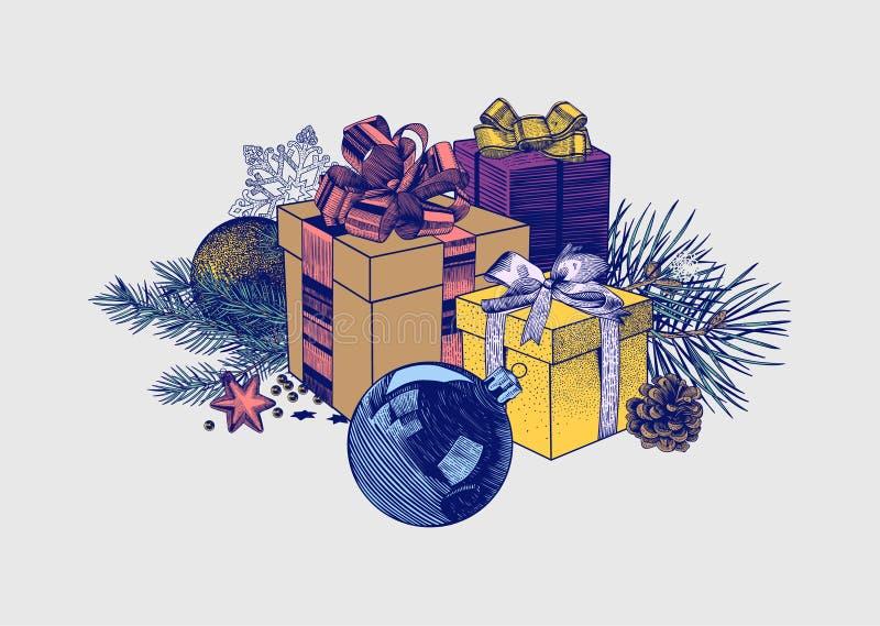 Weihnachtszusammensetzung von Geschenkboxen, von Bällen und von Tannenzweigen stock abbildung