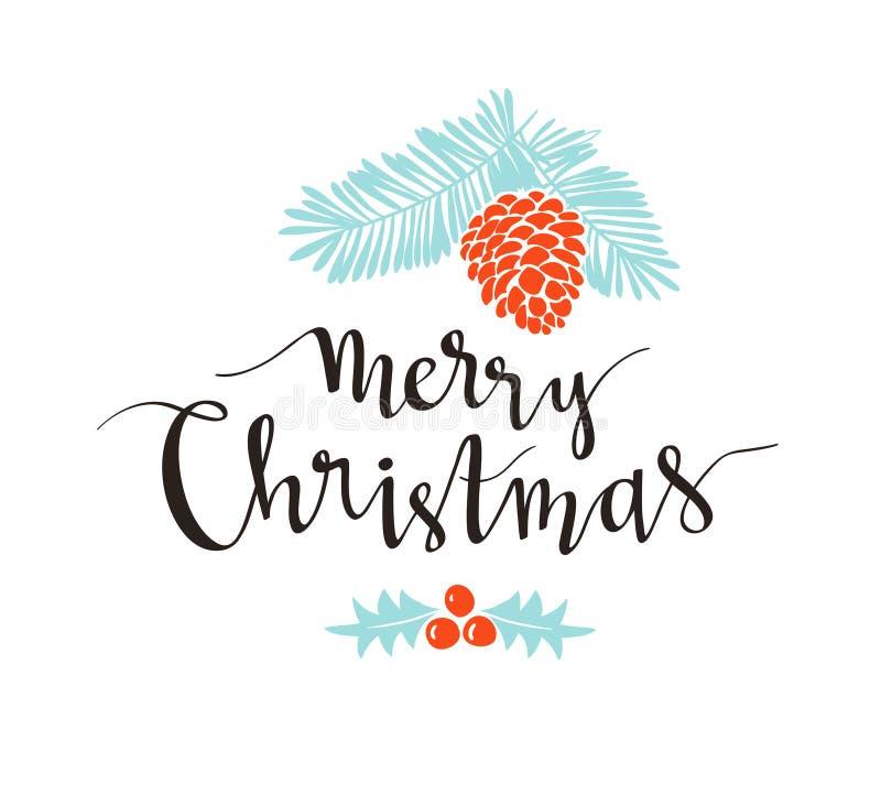 Weihnachtszweig der Kiefer mit Feiertagsbeschriftung - frohe Weihnachten Vektorillustration für Grußkarten, Einladungen vektor abbildung