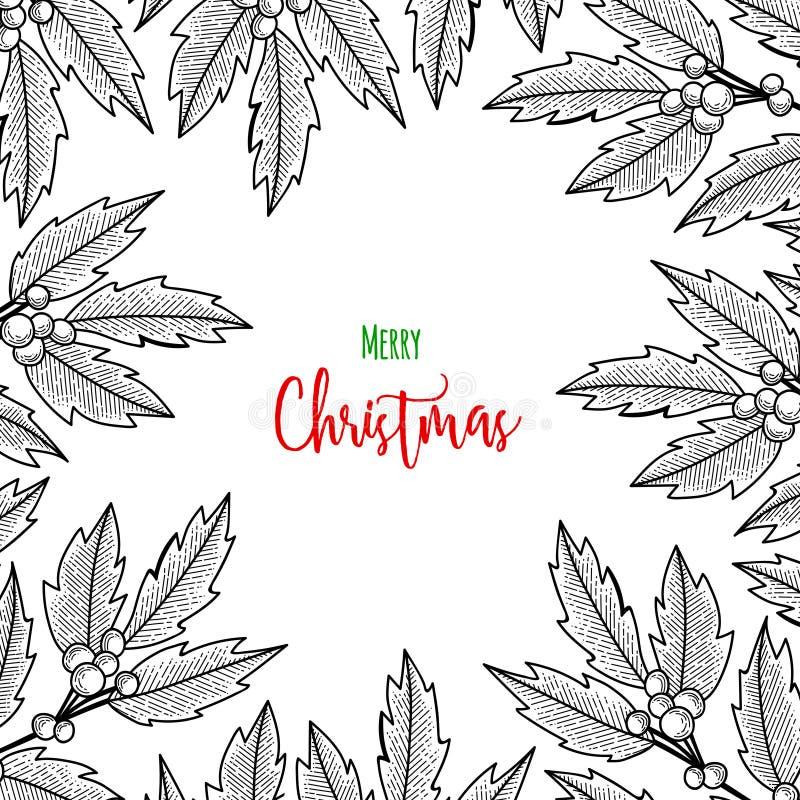 Weihnachtszweig der Stechpalmenbeere Illustration für Grußkarten, Einladungen und andere Druckprojekte stock abbildung