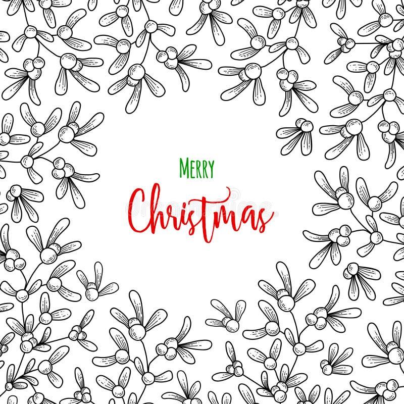 Weihnachtszweig des Mistelzweiges Illustration für Grußkarten, Einladungen und andere Druckprojekte stock abbildung