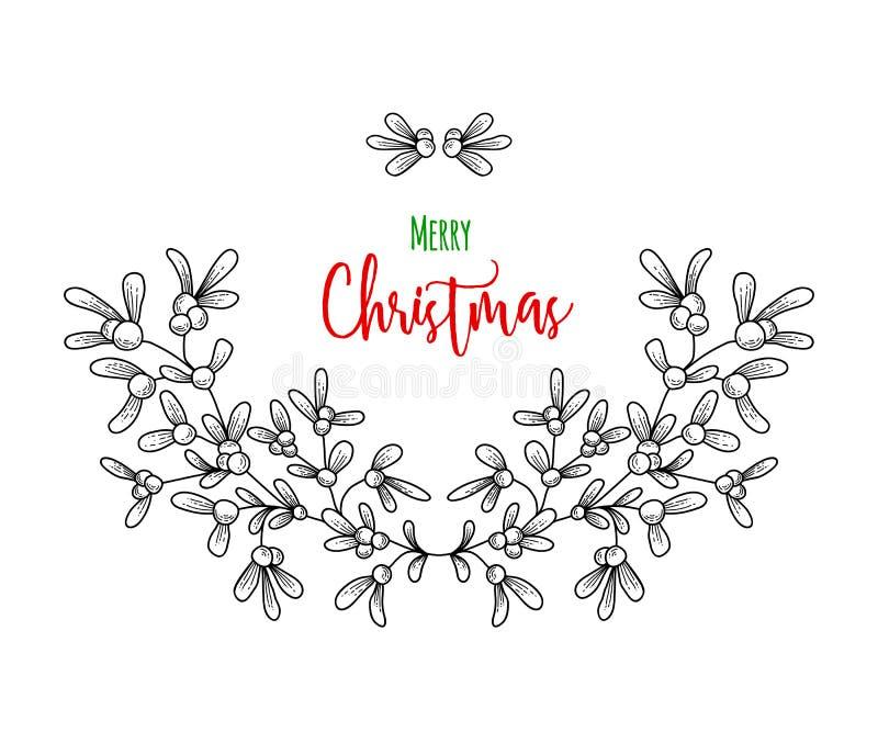 Weihnachtszweig des Mistelzweiges Illustration für Grußkarten, Einladungen und andere Druckprojekte lizenzfreie abbildung