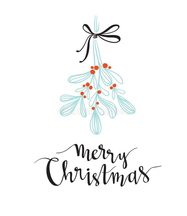Weihnachtszweig des Mistelzweiges mit Feiertagsbeschriftung - frohe Weihnachten Vektorillustration für Grußkarten, Einladungen vektor abbildung
