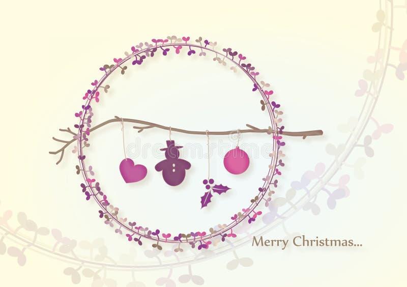 weihnachtszweig mit schneemann vektor abbildung illustration von gl cklich dekoration 21742411. Black Bedroom Furniture Sets. Home Design Ideas