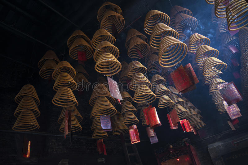 Weihrauch umwickelt Burning in A-ma Temple in Macao-Porzellan lizenzfreies stockfoto