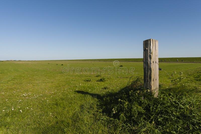 Weilanden, Meadows. Weids uitzicht over weilanden met houten paal in voorgrond; Extensive view at meadows with wooden pool in foreground stock images