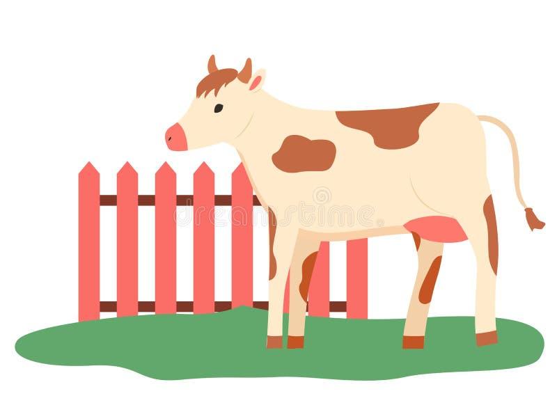 Weilandvee, Koe Openlucht Lopen, Landbouwbedrijfvector royalty-vrije illustratie