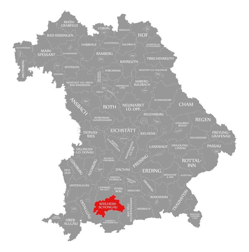 Weilheim-Schongau okręgu administracyjnego czerwień podkreślająca w mapie Bavaria Niemcy ilustracji
