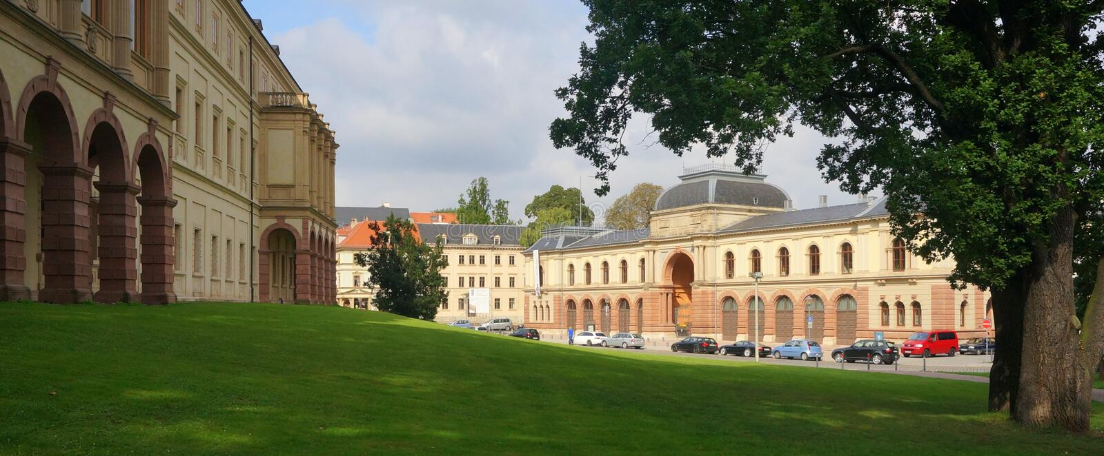 Weimar Archives. The Weimar Archives are located across from the Weimar City Palace (left). The city of Weimar in the federal state of Thuringia, Germany, is stock images