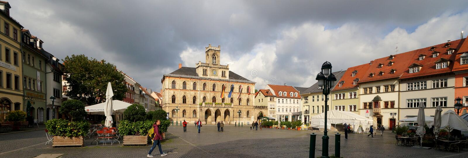 Weimar, City Hall and Market Square. The city hall and market square of Weimar. The city of Weimar in the federal state of Thuringia, Germany, is well known for stock image