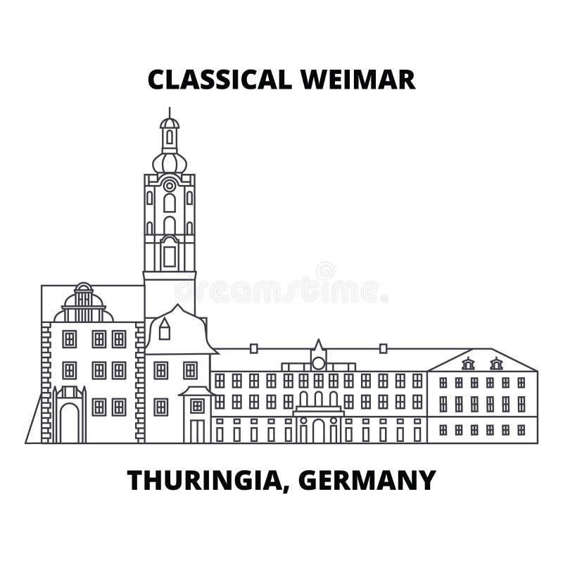 Weimar clásico, Thuringia, línea concepto de Alemania del icono Weimar clásico, Thuringia, muestra linear del vector de Alemania, ilustración del vector