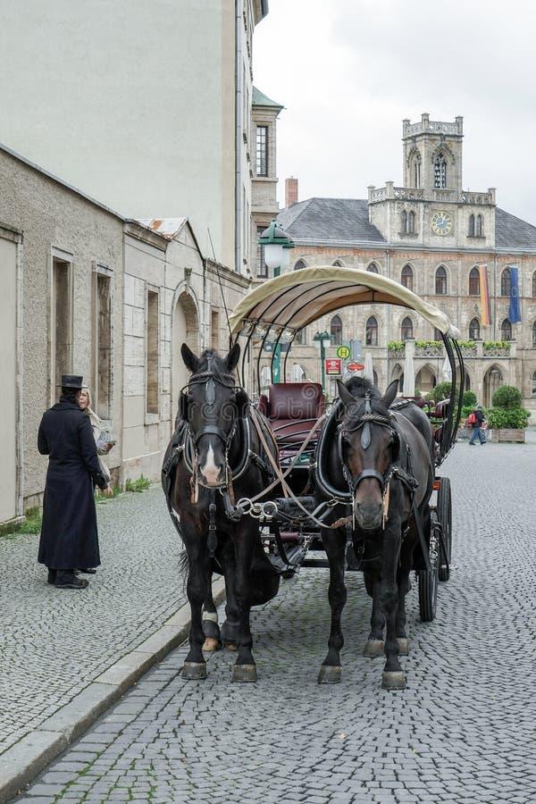 WEIMAR, GERMANY/EUROPE - 14 SEPTEMBRE : Chevaux et chariot dans W image libre de droits