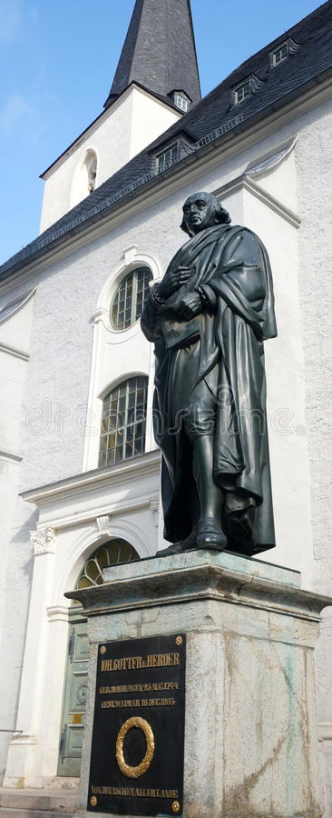 Weimar. Statue of Johann Gottfried von Herder (1744-1803), a German philosopher, theologian, poet, and literary critic - he is associated with the periods of stock photography