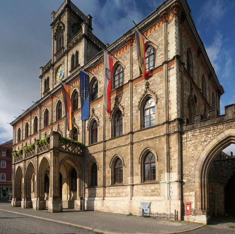 Weimar Town Hall. The Neo-Gothic town hall of Weimar was re-built in 1841 after destruction by fire. The city of Weimar in the federal state of Thuringia stock photography