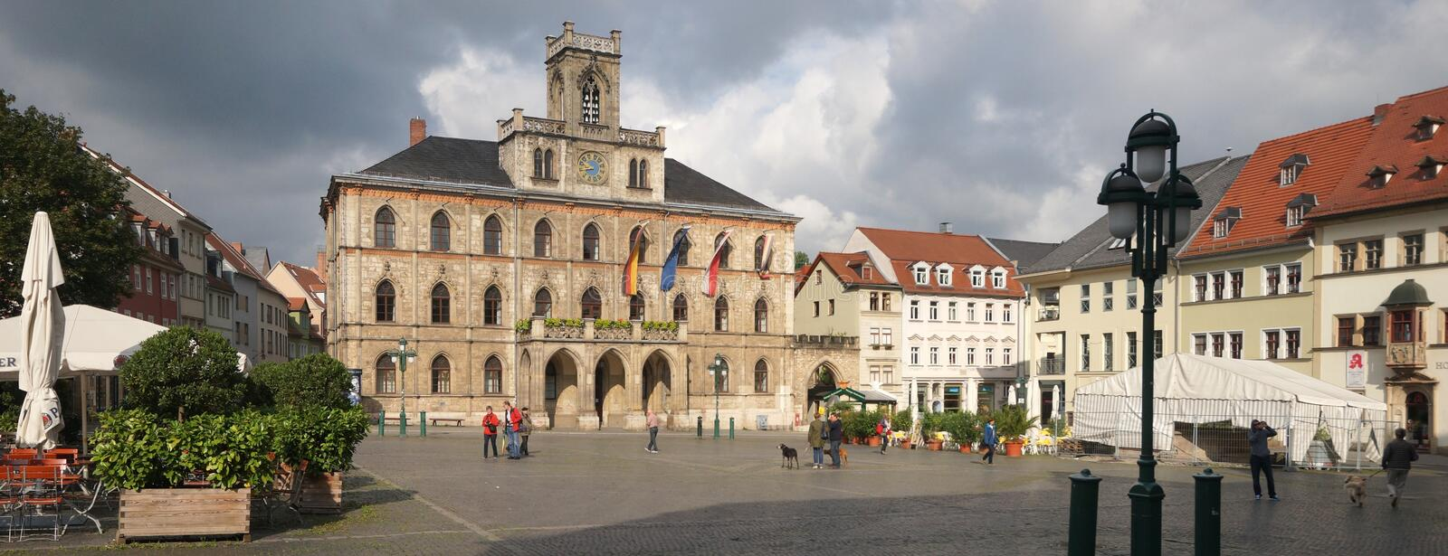 Weimar Town Hall. The Neo-Gothic town hall of Weimar was re-built in 1841 after destruction by fire. The city of Weimar in the federal state of Thuringia stock photo