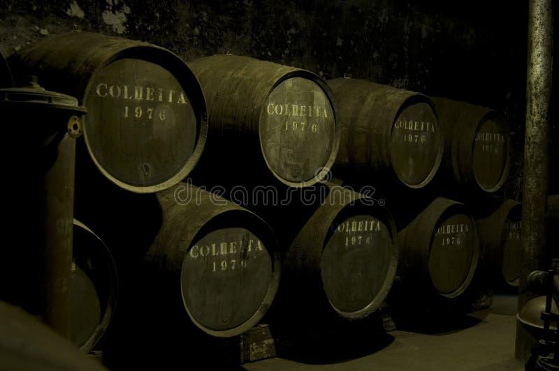 Wein-Fässer in einem dunklen warehou lizenzfreie stockfotografie