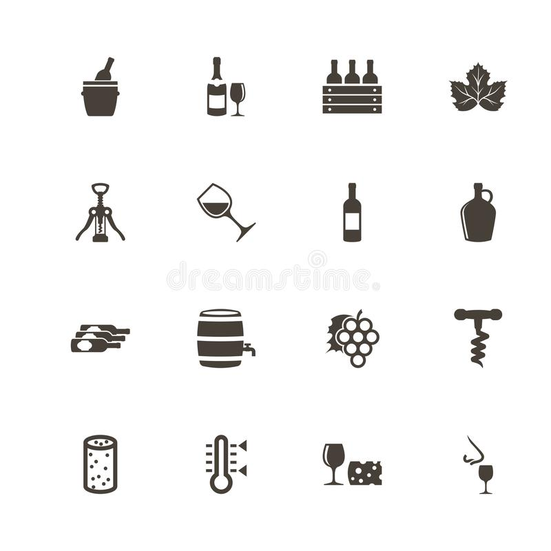 Wein - flache Vektor-Ikonen lizenzfreie abbildung