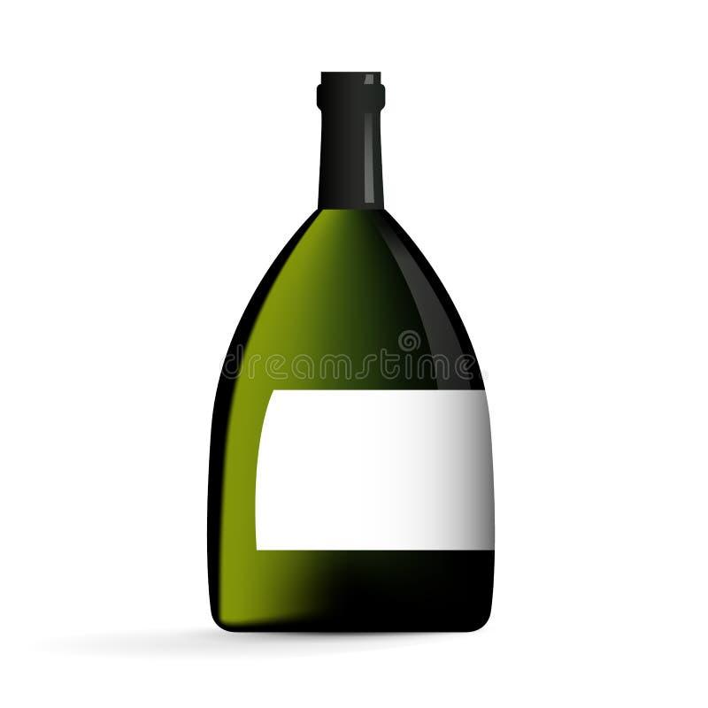 Wein-Flasche in der grüne Farbvektor-Illustration vektor abbildung