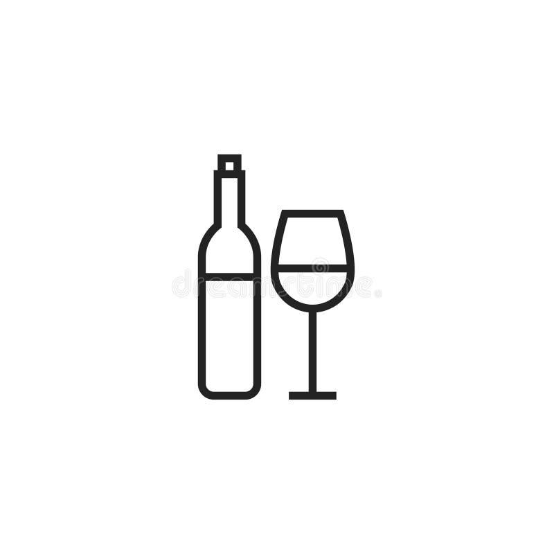 Wein-Flasche und Wein-Glas Oultine-Vektor-Ikone, Symbol oder Logo stock abbildung