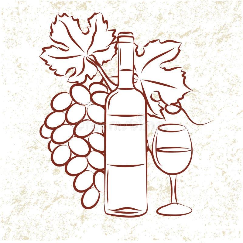 Wein-Flasche und Trauben stock abbildung