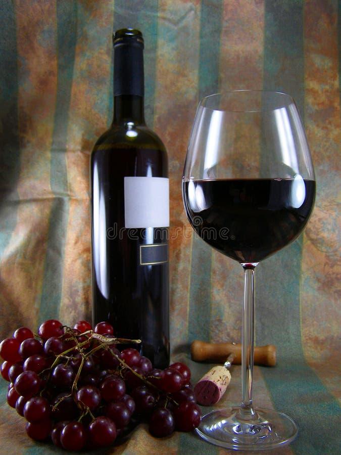 Wein, Flasche und Trauben stockfotos