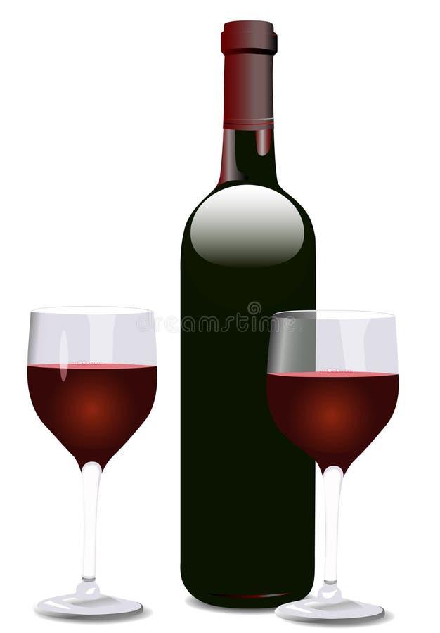 Wein-Flasche und zwei Gläser lizenzfreie abbildung