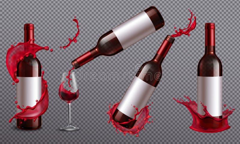 Wein-Flaschen spritzen Satz lizenzfreie abbildung