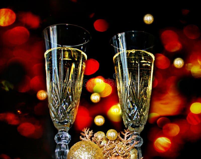 Wein-Gläser, Licht-Zusammenfassung stockfoto
