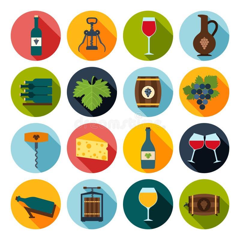 Wein-Ikonen eingestellt lizenzfreie abbildung