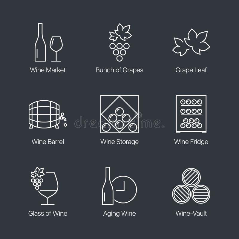 Wein-Ikonen eingestellt stock abbildung