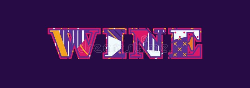 Wein-Konzept-Wort Art Illustration stock abbildung
