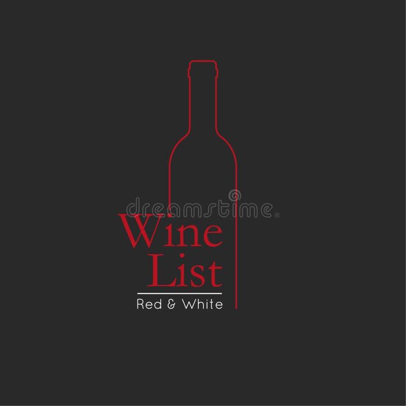 Wein-Listen-Menü-Karten-Designschablone lizenzfreie abbildung