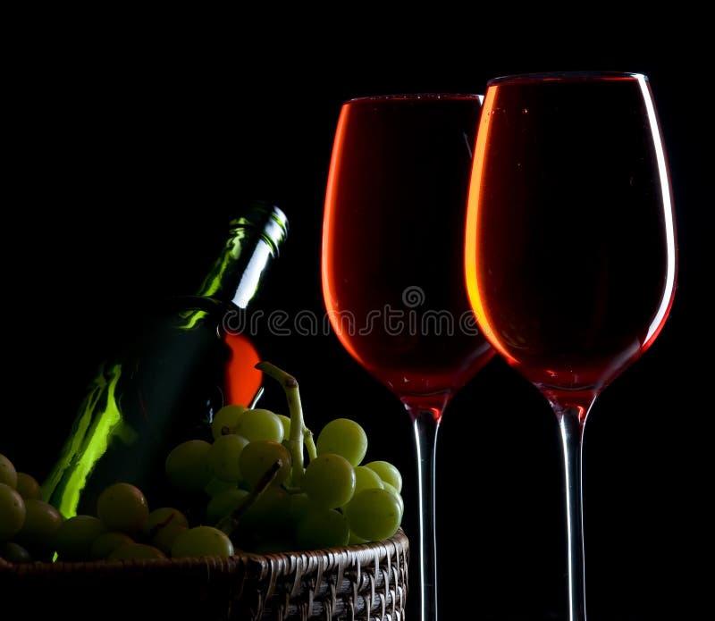 Wein mit Traube stockbild