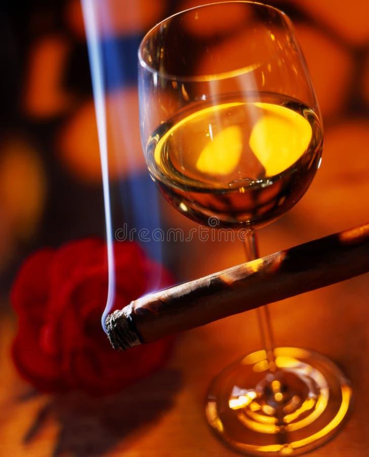 Wein mit Zigarre lizenzfreie stockfotografie