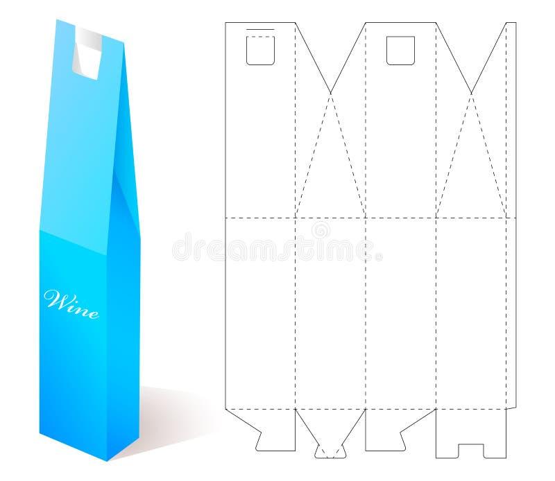 Wein-Papierkasten mit Plan-Schablone stockfoto