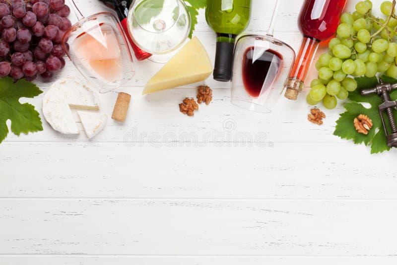 Wein, Traube und K?se lizenzfreie stockfotografie