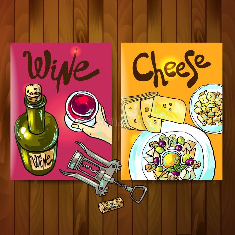 Wein und Käse vektor abbildung