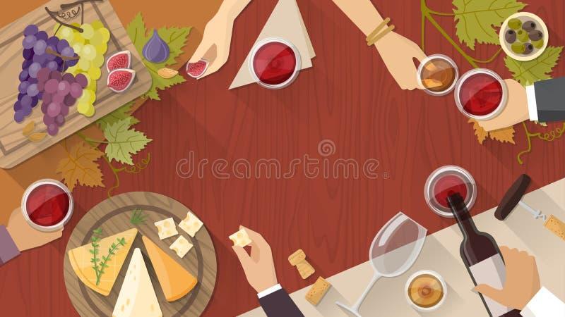 Wein- und Käseprobieren vektor abbildung