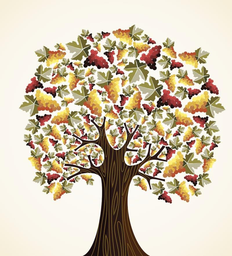 Wein- und Traubenbaum stock abbildung