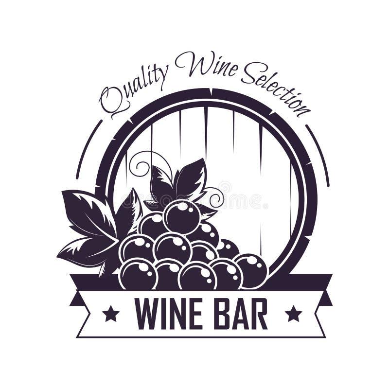 Weinbarvereinsheimvektor-Ikonenschablone für Weinproduktionsaufkleber stock abbildung