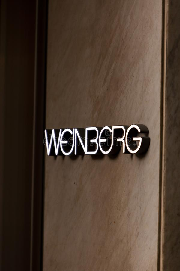 Weinberg store. Detail of Weinberg fashion company store at Bahnhofstrasse in Zurich. This store was inaugurated at 1954 royalty free stock photo