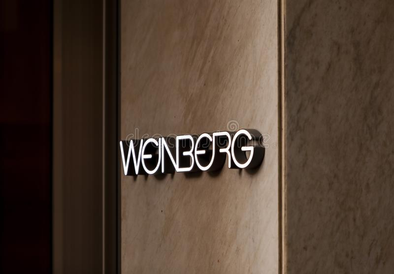 Weinberg store. Detail of Weinberg fashion company store at Bahnhofstrasse in Zurich. This store was inaugurated at 1954 stock photo